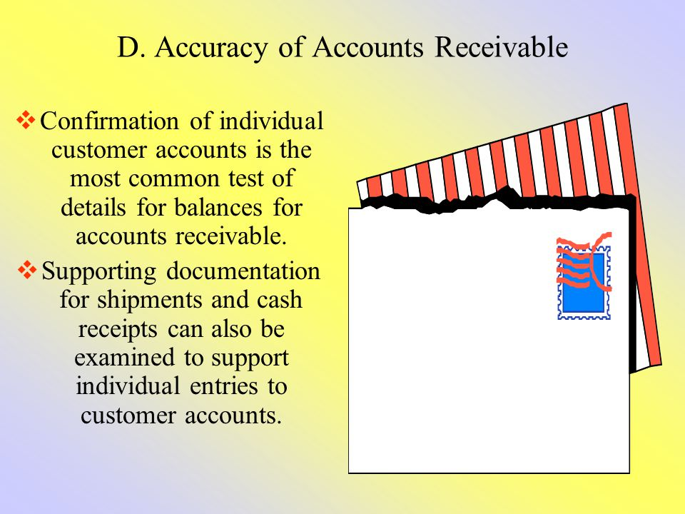 D. Accuracy of Accounts Receivable Confirmation of individual customer accounts is the most common test of details for balances for accounts receivabl