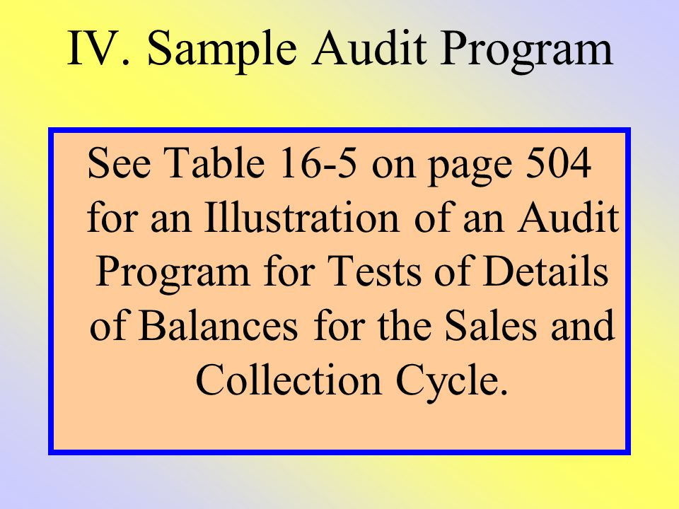 IV. Sample Audit Program See Table 16-5 on page 504 for an Illustration of an Audit Program for Tests of Details of Balances for the Sales and Collect