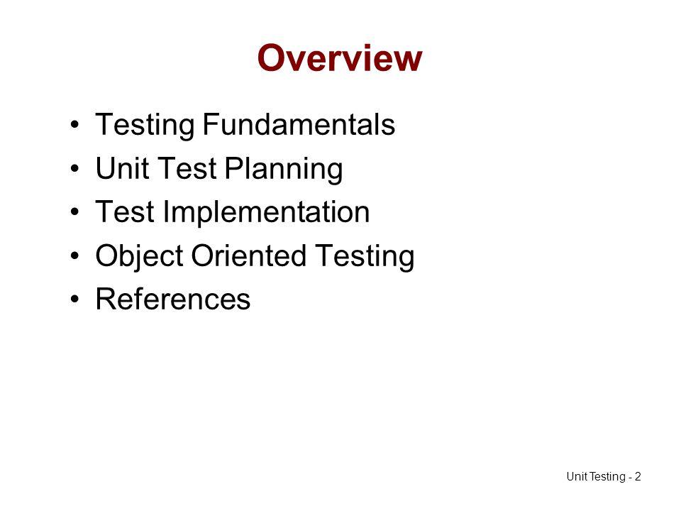 Unit Testing - 33 Example follows…