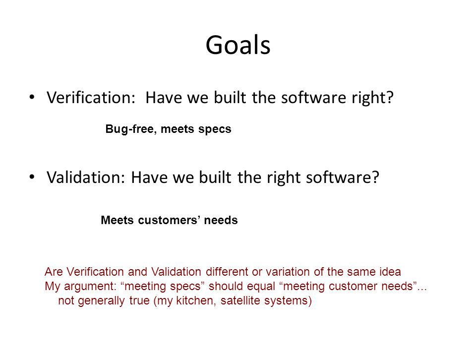 Goals Verification: Have we built the software right.