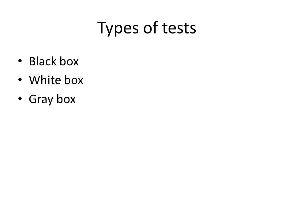 Types of tests Black box White box Gray box