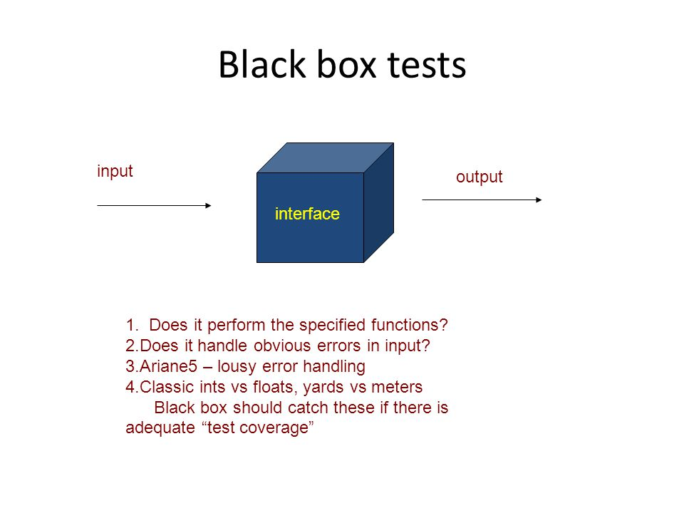 Black box tests input output interface 1. Does it perform the specified functions.