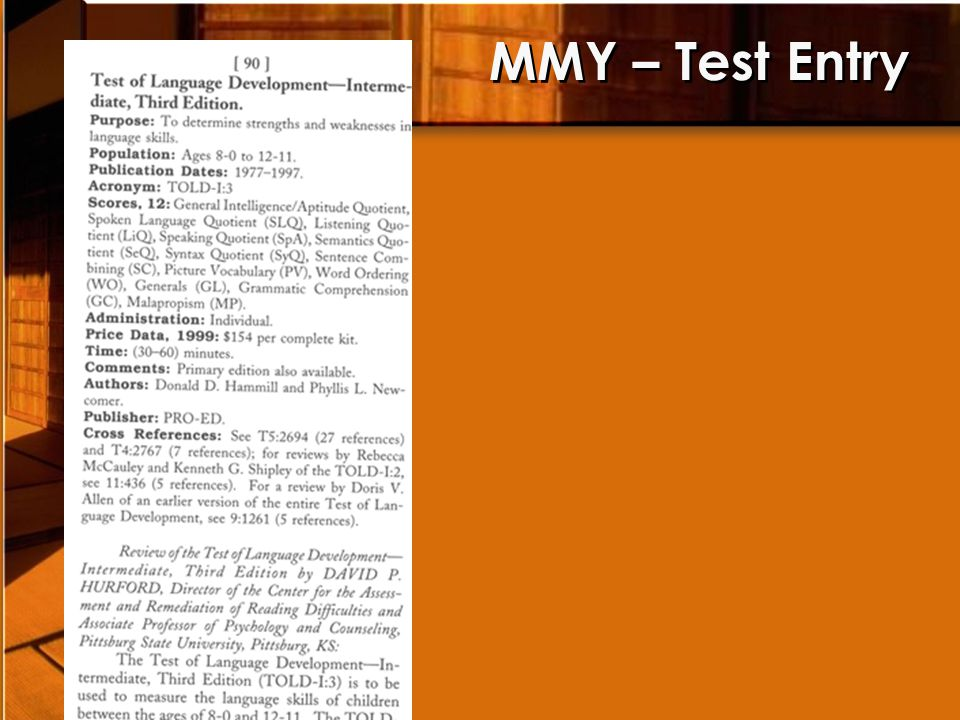 MMY – Test Entry
