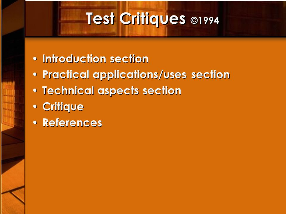Test Critiques ©1994 Introduction section Practical applications/uses section Technical aspects section Critique References Introduction section Practical applications/uses section Technical aspects section Critique References