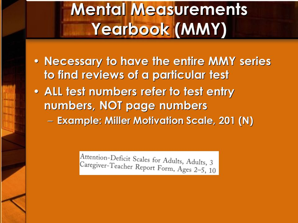 MMY - Score Index Index to all the scores generated by the test Definitions of variables the test author is trying to measure Index to all the scores generated by the test Definitions of variables the test author is trying to measure