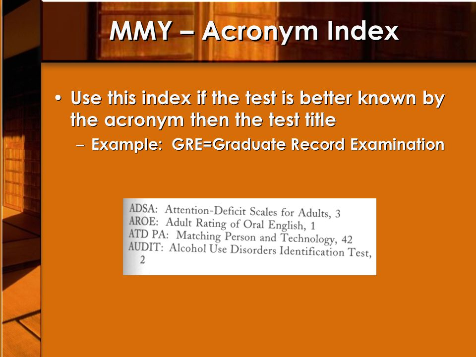 MMY – Title Index N in parenthesis after the test number indicates the test is new or recently published, and/or that it has not appeared before in any Buros Institute Publication R indicates that the test has been revised or supplemented since last included in a Buros publication N in parenthesis after the test number indicates the test is new or recently published, and/or that it has not appeared before in any Buros Institute Publication R indicates that the test has been revised or supplemented since last included in a Buros publication