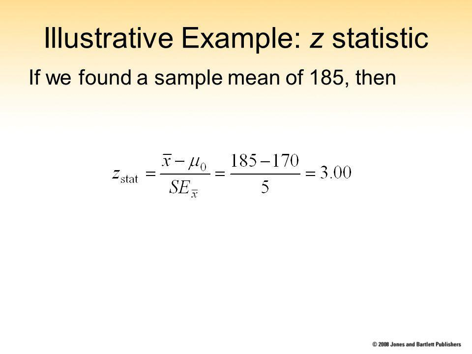 Illustrative Example: z statistic If we found a sample mean of 185, then