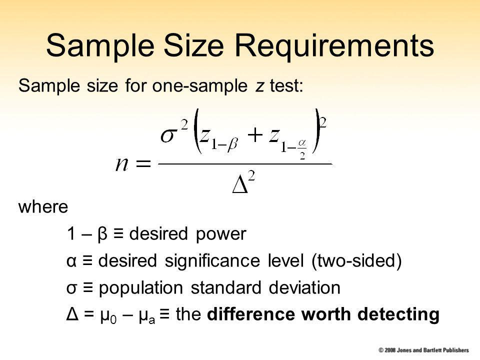 Sample Size Requirements Sample size for one-sample z test: where 1 – β desired power α desired significance level (two-sided) σ population standard deviation Δ = μ 0 – μ a the difference worth detecting