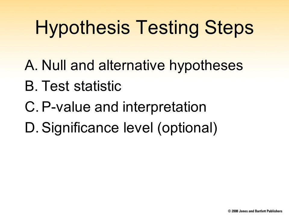 Hypothesis Testing Steps A.Null and alternative hypotheses B.Test statistic C.P-value and interpretation D.Significance level (optional)