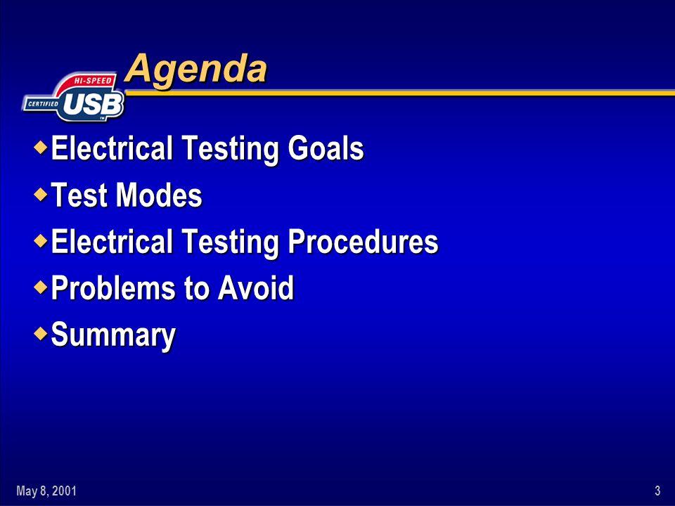 May 8, 20013 Agenda w Electrical Testing Goals w Test Modes w Electrical Testing Procedures w Problems to Avoid w Summary