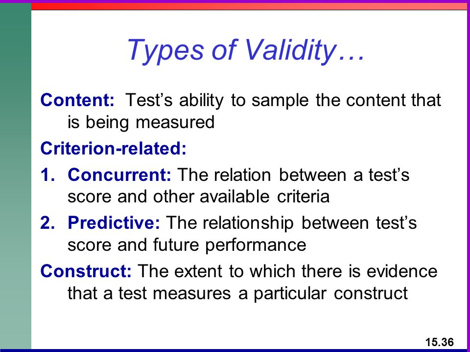 Types of Validity… Content: Tests ability to sample the content that is being measured Criterion-related: 1.Concurrent: The relation between a tests s