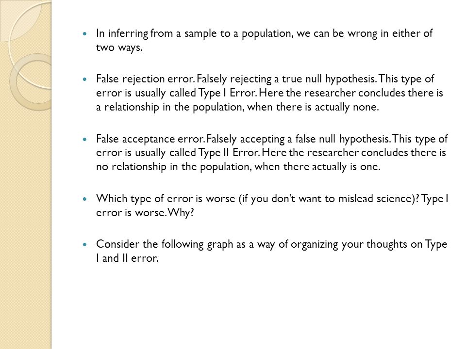 In inferring from a sample to a population, we can be wrong in either of two ways. False rejection error. Falsely rejecting a true null hypothesis. Th