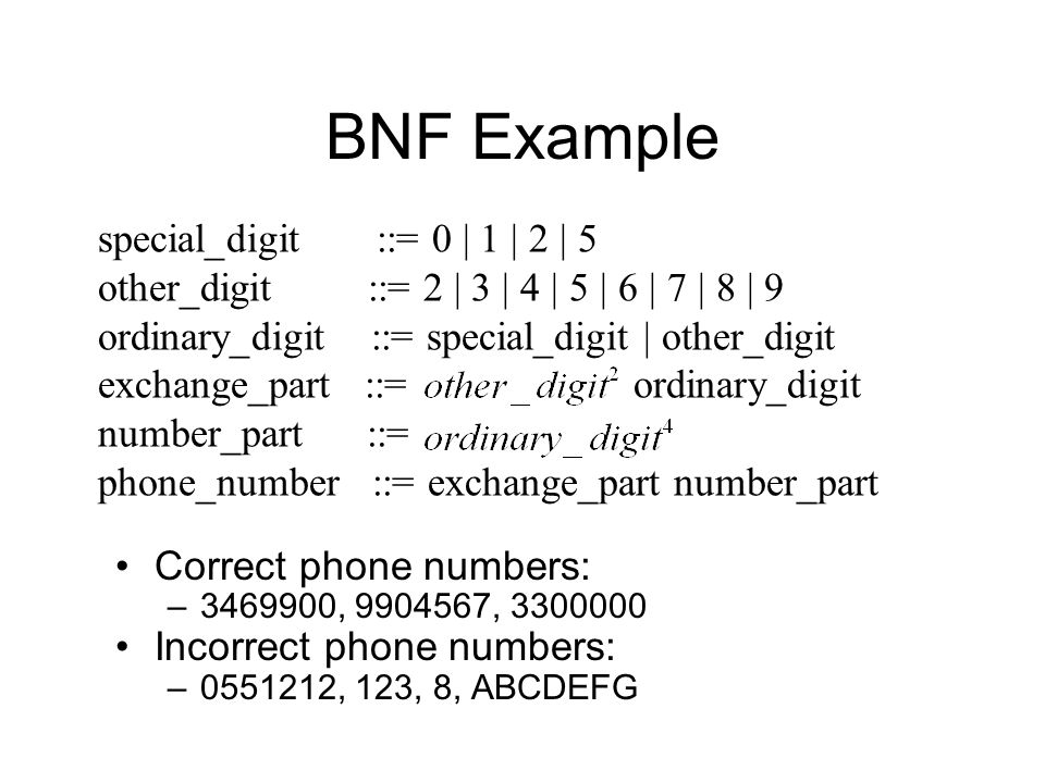 BNF Example Correct phone numbers: –3469900, 9904567, 3300000 Incorrect phone numbers: –0551212, 123, 8, ABCDEFG special_digit ::= 0 | 1 | 2 | 5 other_digit ::= 2 | 3 | 4 | 5 | 6 | 7 | 8 | 9 ordinary_digit ::= special_digit | other_digit exchange_part ::= ordinary_digit number_part ::= phone_number ::= exchange_part number_part