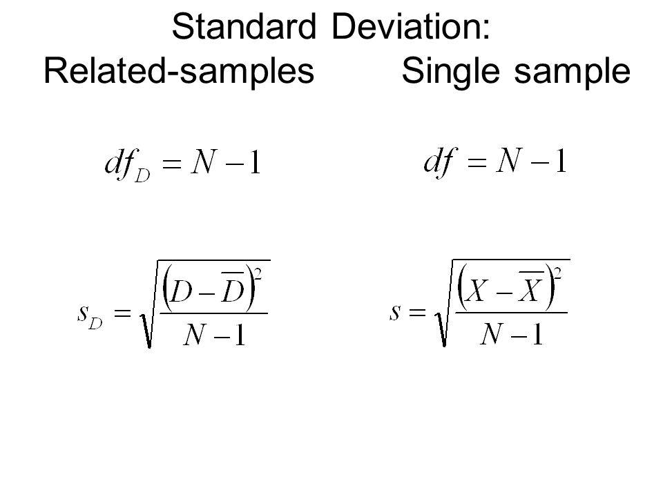 Standard Deviation: Related-samples Single sample