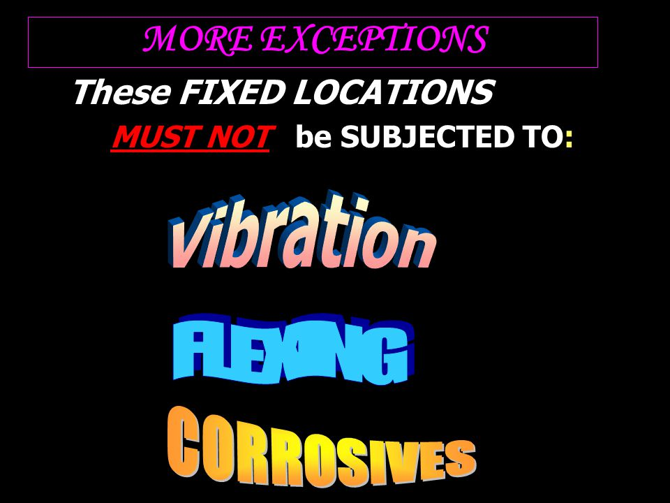 MORE EXCEPTIONS These FIXED LOCATIONS MUST NOT be SUBJECTED TO: