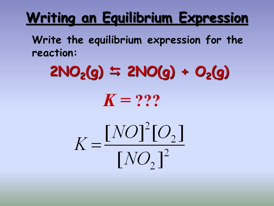 Writing an Equilibrium Expression 2NO 2 (g) 2NO(g) + O 2 (g) K = ??? Write the equilibrium expression for the reaction: