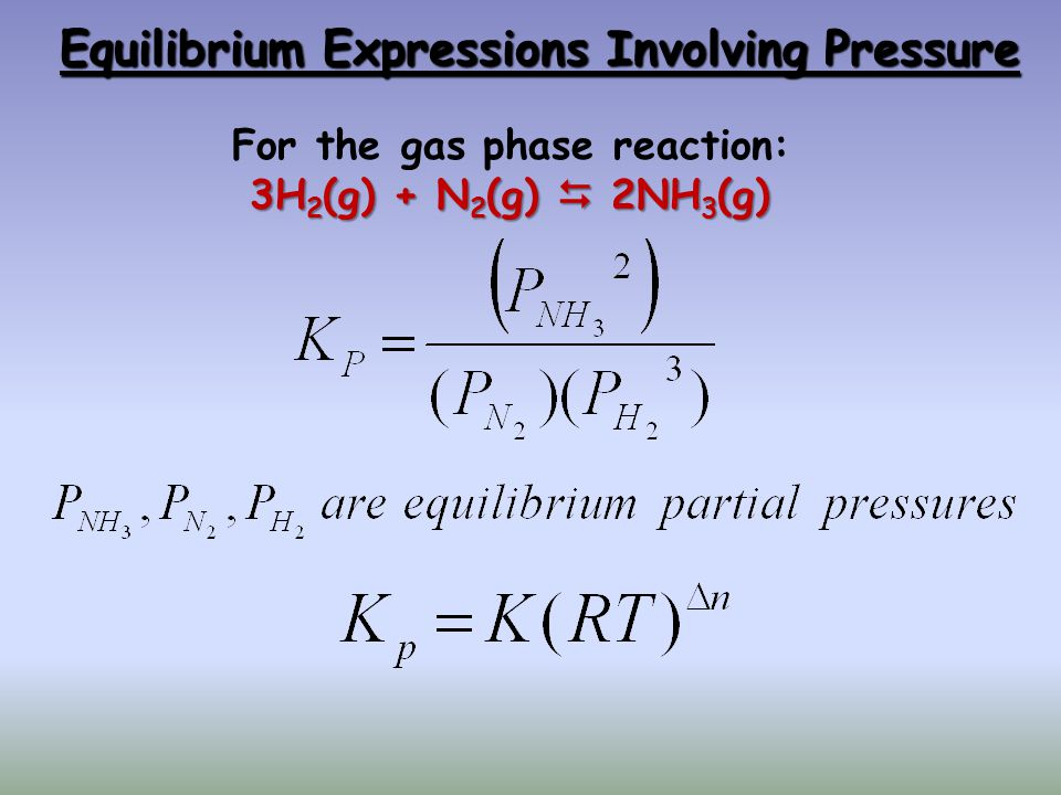 Equilibrium Expressions Involving Pressure For the gas phase reaction: 3H 2 (g) + N 2 (g) 2NH 3 (g)