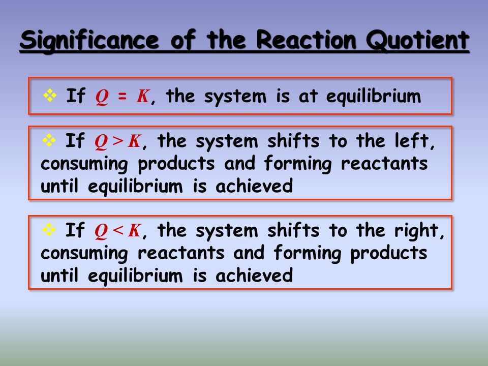 Significance of the Reaction Quotient If Q = K, the system is at equilibrium If Q > K, the system shifts to the left, consuming products and forming r