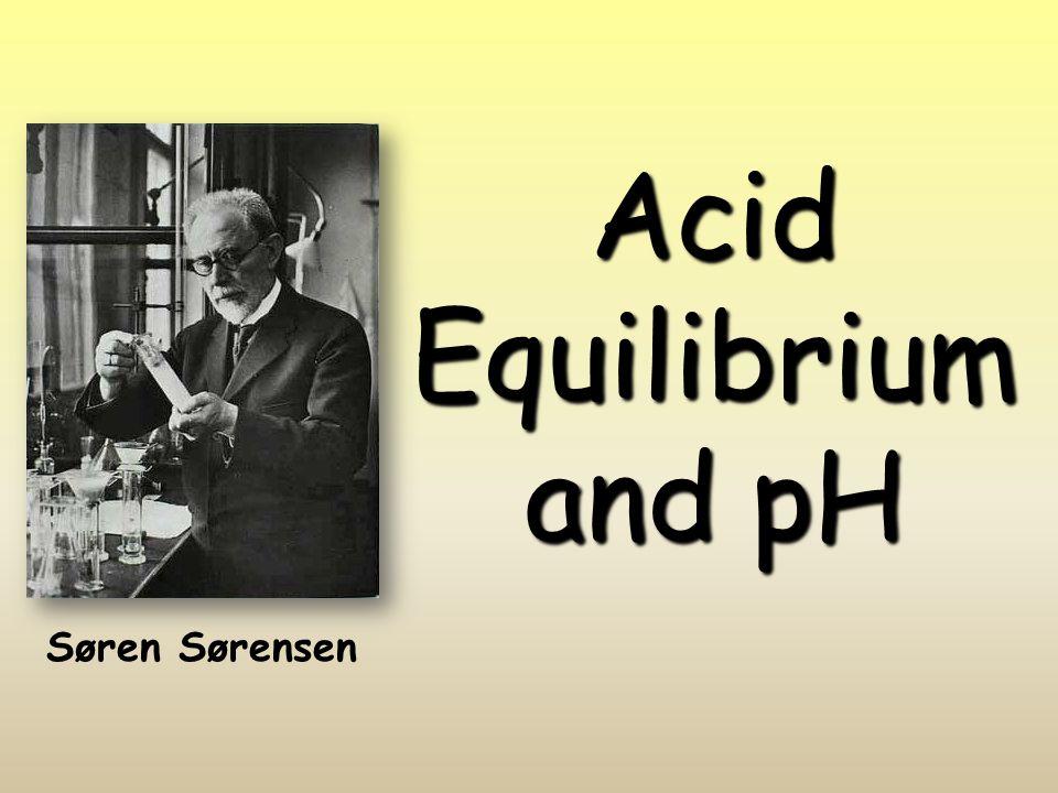 Acid Equilibrium and pH Søren Sørensen