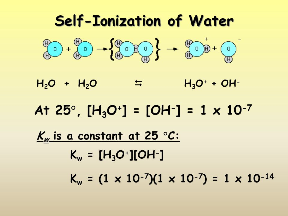 Self-Ionization of Water H 2 O + H 2 O H 3 O + + OH - At 25, [H 3 O + ] = [OH - ] = 1 x 10 -7 K w is a constant at 25 C: K w = [H 3 O + ][OH - ] K w =
