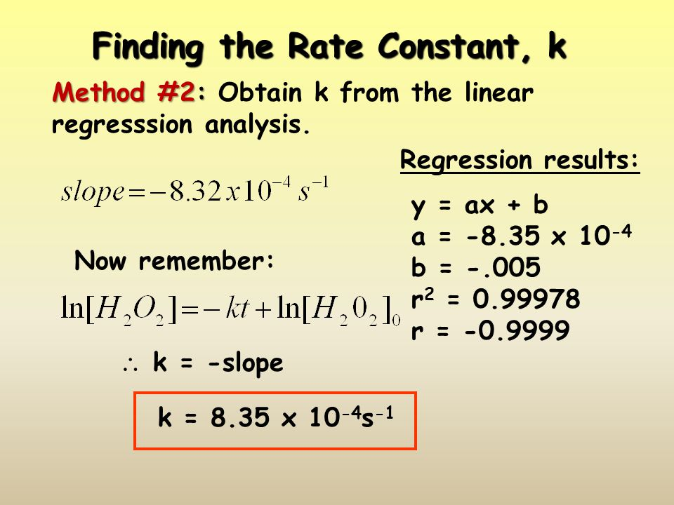 Finding the Rate Constant, k Method #2: Method #2: Obtain k from the linear regresssion analysis. Now remember: k = -slope k = 8.35 x 10 -4 s -1 Regre