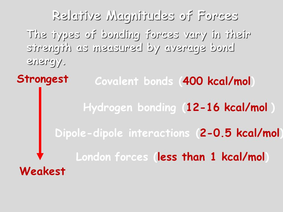 Relative Magnitudes of Forces The types of bonding forces vary in their strength as measured by average bond energy. Covalent bonds (400 kcal/mol) Hyd