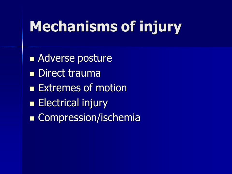 Mechanisms of injury Adverse posture Adverse posture Direct trauma Direct trauma Extremes of motion Extremes of motion Electrical injury Electrical in