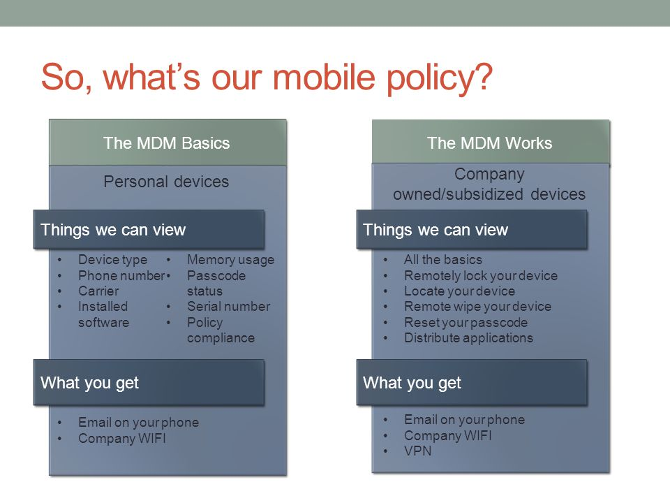 So, whats our mobile policy.