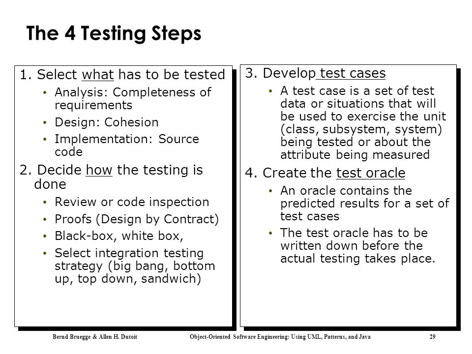 Bernd Bruegge & Allen H. Dutoit Object-Oriented Software Engineering: Using UML, Patterns, and Java 29 The 4 Testing Steps 1. Select what has to be te