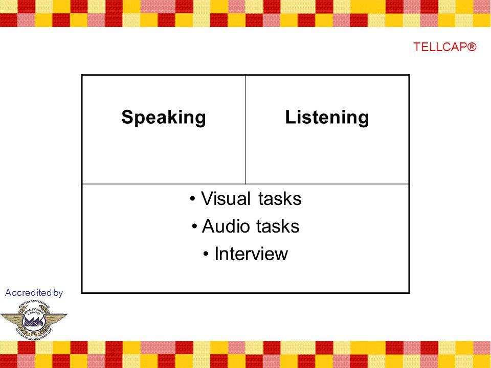 Accredited by TELLCAP® SpeakingListening Visual tasks Audio tasks Interview