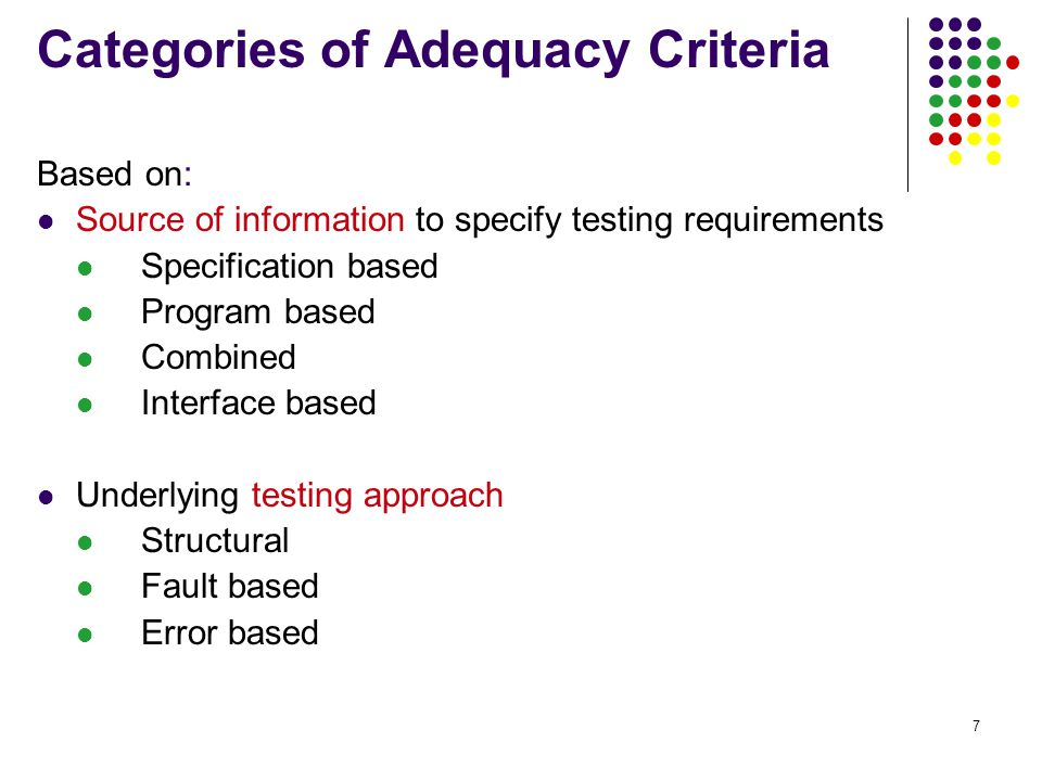 7 Categories of Adequacy Criteria Based on: Source of information to specify testing requirements Specification based Program based Combined Interface based Underlying testing approach Structural Fault based Error based