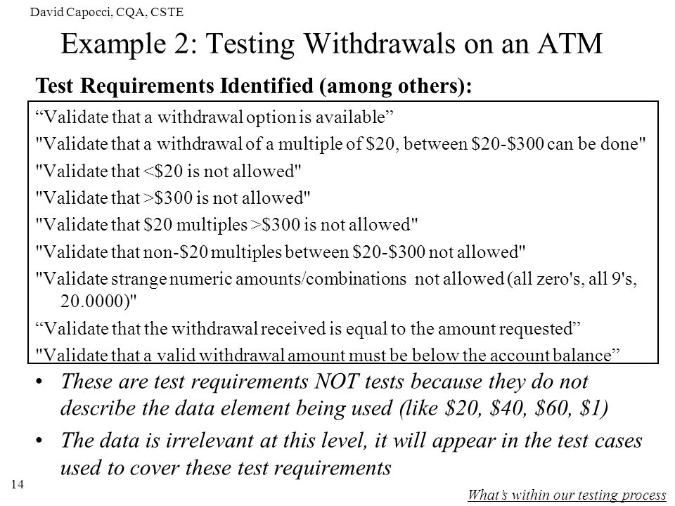 David Capocci, CQA, CSTE 14 Example 2: Testing Withdrawals on an ATM Validate that a withdrawal option is available
