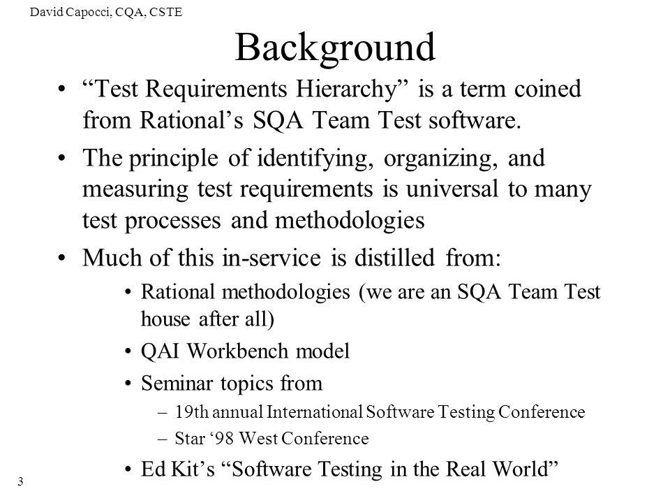 David Capocci, CQA, CSTE 24 Distinguishing the types of testing….