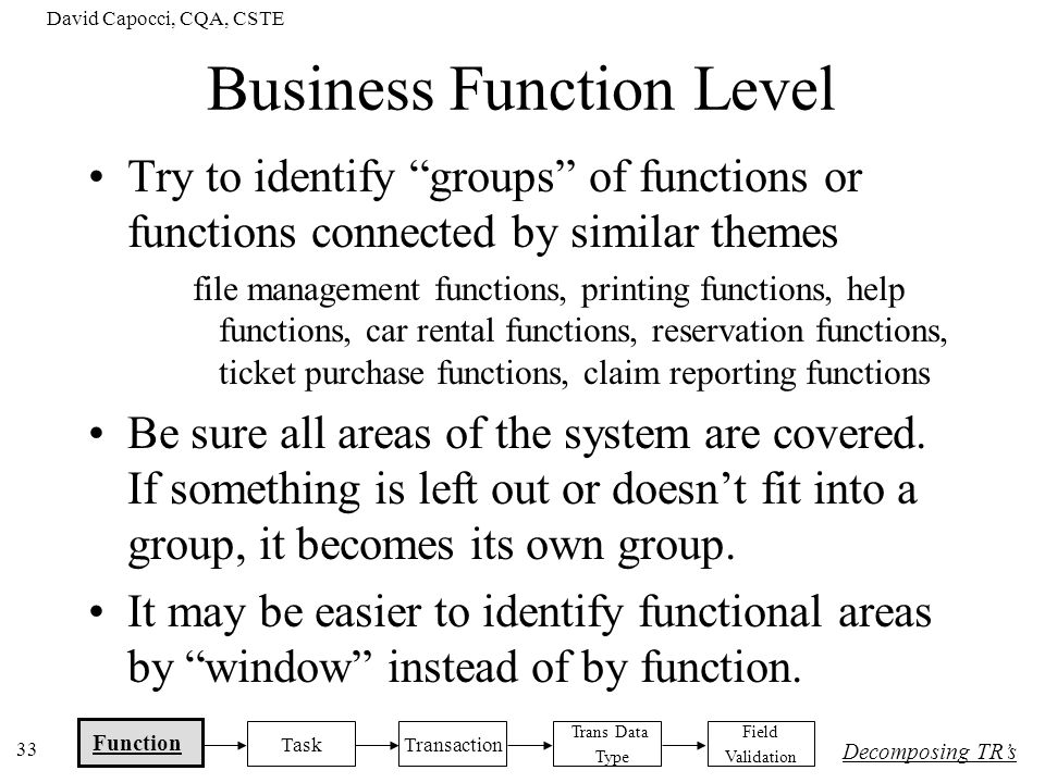 David Capocci, CQA, CSTE 33 Business Function Level Try to identify groups of functions or functions connected by similar themes file management funct