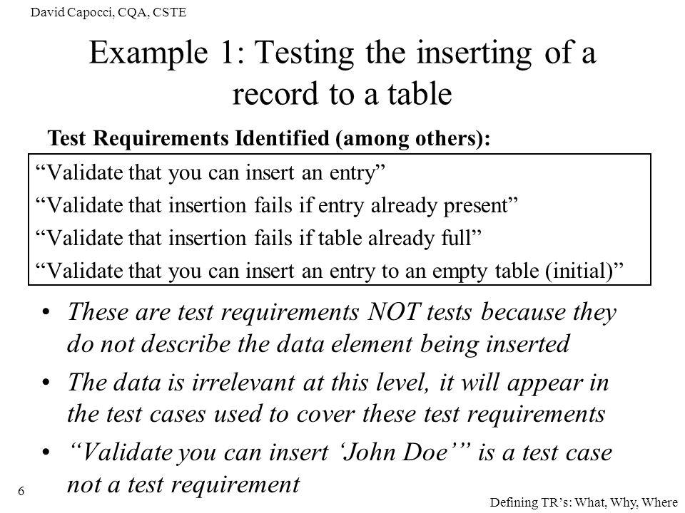 David Capocci, CQA, CSTE 7 Why identify Test Requirements.
