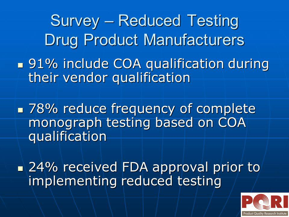 Survey – Reduced Testing Drug Product Manufacturers 91% include COA qualification during their vendor qualification 91% include COA qualification duri