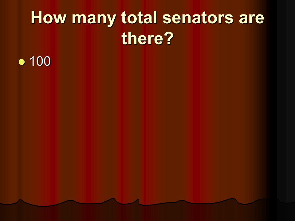 How many total senators are there? 100 100