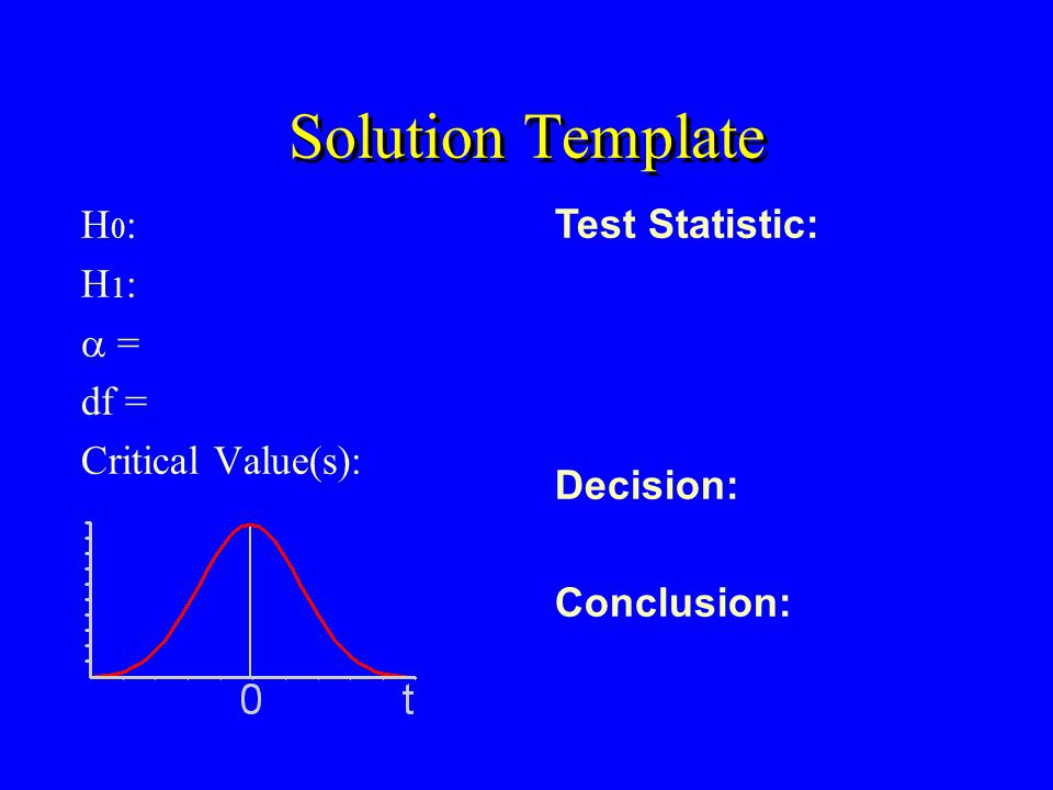 Solution Template H 0 : H 1 : = df = Critical Value(s): Test Statistic: Decision: Conclusion: