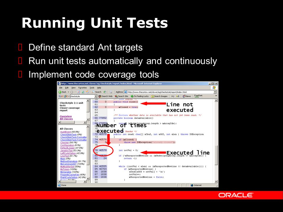 Running Unit Tests Define standard Ant targets Run unit tests automatically and continuously Implement code coverage tools Line not executed Executed line Number of times executed