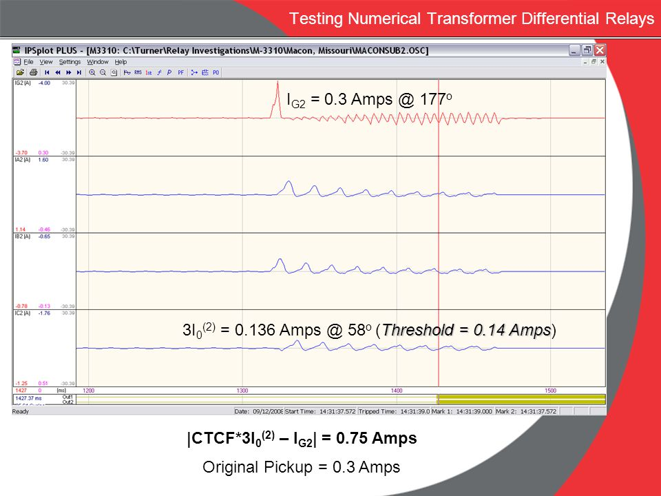 Testing Numerical Transformer Differential Relays I G2 = 0.3 Amps @ 177 o Threshold = 0.14 Amps 3I 0 (2) = 0.136 Amps @ 58 o (Threshold = 0.14 Amps)  
