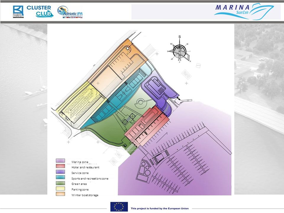 Marine zone Hotel and restaurant Service zone Sports and recreations zone Green area Parking zone Winter boat storage