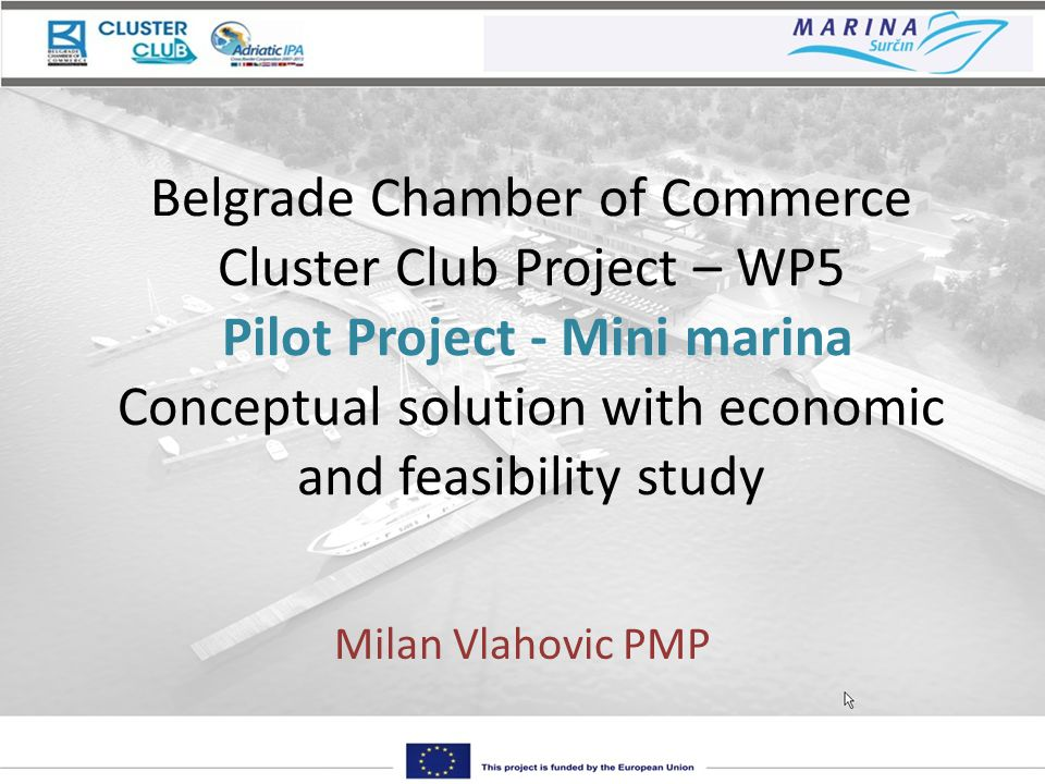 Belgrade Chamber of Commerce Cluster Club Project – WP5 Pilot Project - Mini marina Conceptual solution with economic and feasibility study Milan Vlahovic PMP