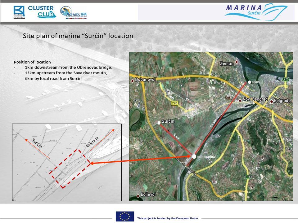 Belgrade Surčin Site plan of marina Surčin location Position of location -1km downstream from the Obrenovac bridge, -13km upstream from the Sava river