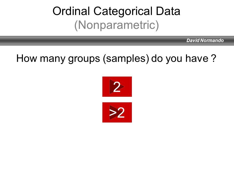 David Normando Ordinal Categorical Data (Nonparametric) 2 >2 How many groups (samples) do you have ?
