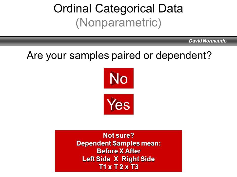 David Normando No Yes Ordinal Categorical Data (Nonparametric) Not sure? Dependent Samples mean: Before X After Left Side X Right Side T1 x T 2 x T3 A