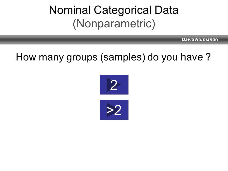 David Normando Nominal Categorical Data (Nonparametric) 2 >2 How many groups (samples) do you have ?