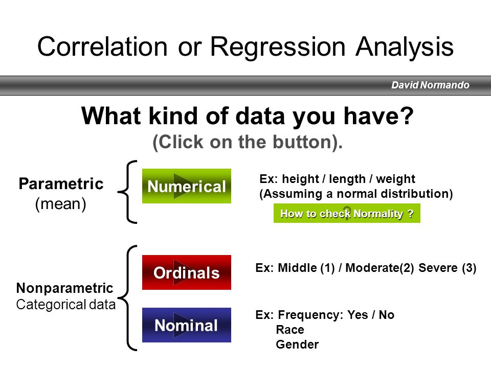 David Normando Correlation or Regression Analysis Ordinals Numerical Nominal What kind of data you have? (Click on the button). Ex: height / length /