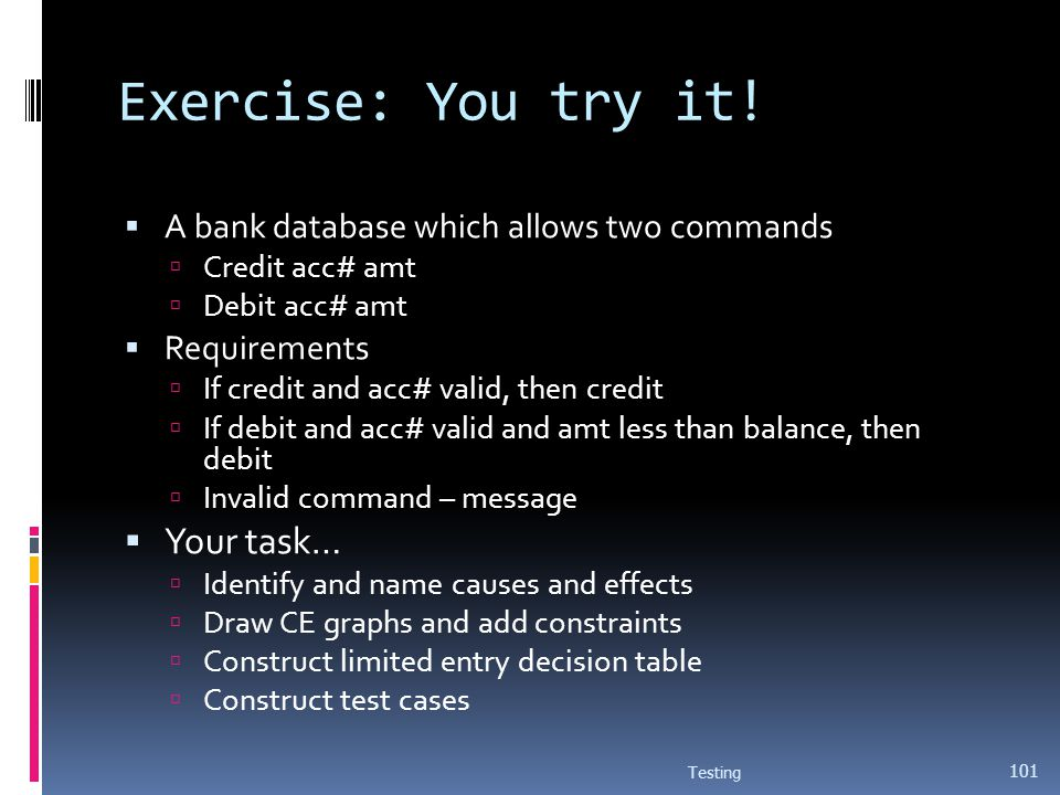 Exercise: You try it! A bank database which allows two commands Credit acc# amt Debit acc# amt Requirements If credit and acc# valid, then credit If d