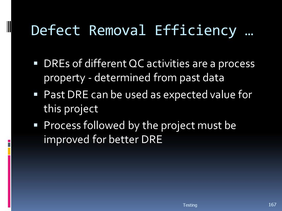 Defect Removal Efficiency … DREs of different QC activities are a process property - determined from past data Past DRE can be used as expected value