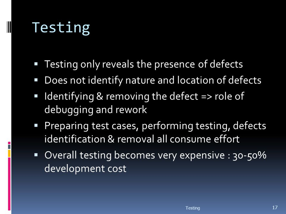 Testing Testing only reveals the presence of defects Does not identify nature and location of defects Identifying & removing the defect => role of deb